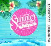 summer poster on blue wooden... | Shutterstock .eps vector #1120365101