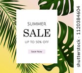 sale poster with tropical leaf... | Shutterstock .eps vector #1120384604