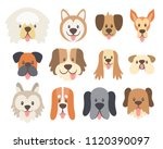 dog faces collection. cute... | Shutterstock .eps vector #1120390097