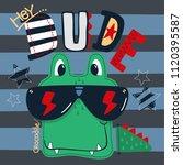 cool crocodile face cartoon... | Shutterstock .eps vector #1120395587