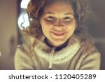 Small photo of laugh, girl model laughs cheerfully, emotional photo of an adult happy woman