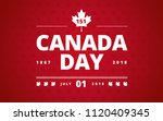 canada day greeting card red... | Shutterstock .eps vector #1120409345