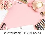 Desk Table With Pink Roses ...