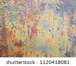 Small photo of Rusted steel plate. The rusted steel plate caused by moisture. Steel plate rust caused by water. Old rusted steel sheet caused by water.