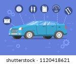 car repair service. blue sedan...   Shutterstock .eps vector #1120418621