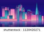 night city neon light. downtown ... | Shutterstock .eps vector #1120420271