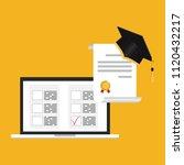 online exam concept  taking... | Shutterstock .eps vector #1120432217