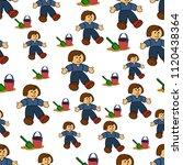 seamless cartoon child pattern. ... | Shutterstock .eps vector #1120438364