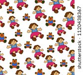 seamless cartoon child pattern. ...   Shutterstock .eps vector #1120438367