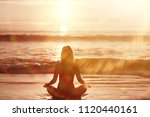 meditation and yoga on the... | Shutterstock . vector #1120440161