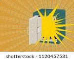 metal safe. cartoon safe with...   Shutterstock .eps vector #1120457531
