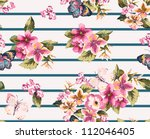 butterfly with floral seamless... | Shutterstock . vector #112046405