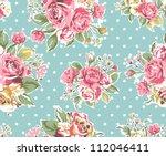 seamless pink vintage rose... | Shutterstock . vector #112046411