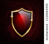 red glass shield with golden... | Shutterstock .eps vector #1120465454