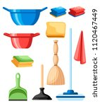 cleaning set objects. plastic...   Shutterstock .eps vector #1120467449