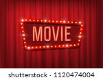 retro movie sign with bulb... | Shutterstock .eps vector #1120474004