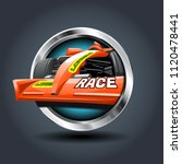 race car  steely rounded badge...