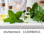 a bottle of essential oil with... | Shutterstock . vector #1120486511