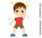 cute little kid boy feeling... | Shutterstock .eps vector #1120491161