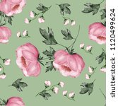Stock photo seamless background with flowers and leaves floral pattern for wallpaper paper and fabric 1120499624