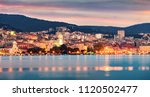 colorful evening panorama of... | Shutterstock . vector #1120502477