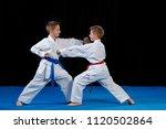 two boys training karate kata... | Shutterstock . vector #1120502864