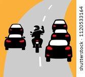 motorbike car. city traffic.... | Shutterstock .eps vector #1120533164