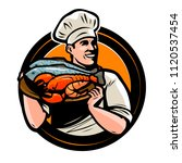 seafood logo or label. chef... | Shutterstock .eps vector #1120537454