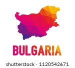 Low polygonal map of Republic of Bulgaria (Republika Balgariya) with sign Bulgaria, both in warm colors of red, purple, orange and yellow; sovereign state in Southeastern Europe