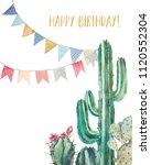 watercolor cactus happy... | Shutterstock . vector #1120552304
