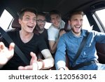 close up. three friends travel... | Shutterstock . vector #1120563014