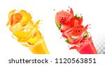 fruit in juice splashes.... | Shutterstock .eps vector #1120563851
