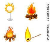 fire icon set. cartoon set of... | Shutterstock . vector #1120565039
