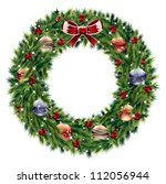 christmas wreath | Shutterstock .eps vector #112056944
