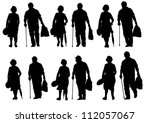 vector drawing of an elderly... | Shutterstock .eps vector #112057067