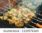 preparation of a shish kebab...   Shutterstock . vector #1120576364