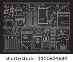 beer production stage line set. ... | Shutterstock .eps vector #1120604684