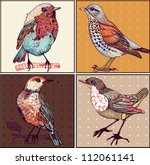 Stock vector vector set of hand drawn cards with colorful birds 112061141