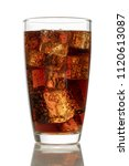 cola in glass with ice on white ... | Shutterstock . vector #1120613087