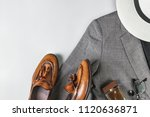 top view set of classic clothes ... | Shutterstock . vector #1120636871