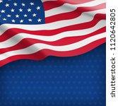 american striped flag on starry ... | Shutterstock .eps vector #1120642805