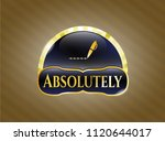 golden emblem with writer icon ... | Shutterstock .eps vector #1120644017
