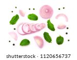 red onion slice and mint leaf... | Shutterstock . vector #1120656737