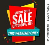 sale poster red this weekend... | Shutterstock .eps vector #1120676831