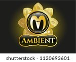 gold badge with goat head icon ... | Shutterstock .eps vector #1120693601
