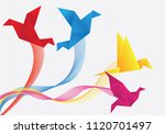 flying origami yellow  blue ... | Shutterstock .eps vector #1120701497