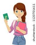 illustration of a teenage girl... | Shutterstock .eps vector #1120701611