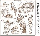 brazil travel landmarks and... | Shutterstock .eps vector #1120717784