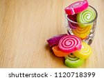 fruit jelly roll with sprinkle... | Shutterstock . vector #1120718399