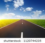 asphalt car road and clouds on... | Shutterstock . vector #1120744235